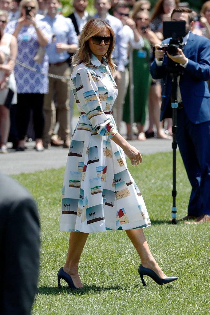Melania Trump, white house, christian louboutin shoes, calvin klein dress, celebrity style, white house, japan