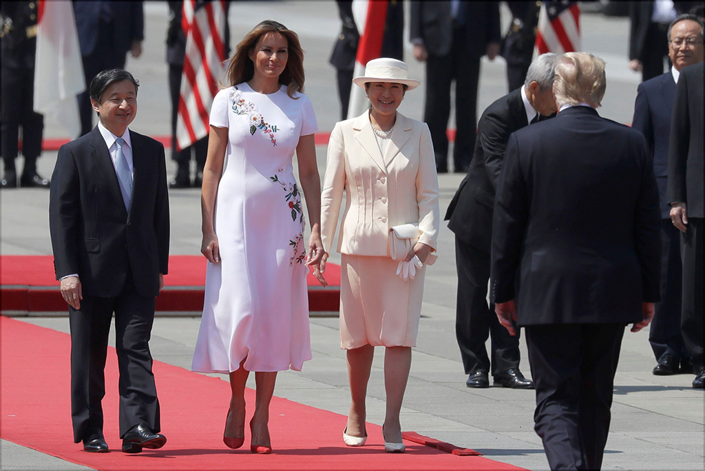 melania trump, manolo blahnik bb pumps, carolina herrera floral dress, celebrity style, flotus, President Donald Trump and first lady Melania Trump participates with Japanese Emperor Naruhito and Japanese Empress Masako in a Imperial Palace welcome ceremony, in TokyoTrump , Tokyo, Japan - 27 May 2019
