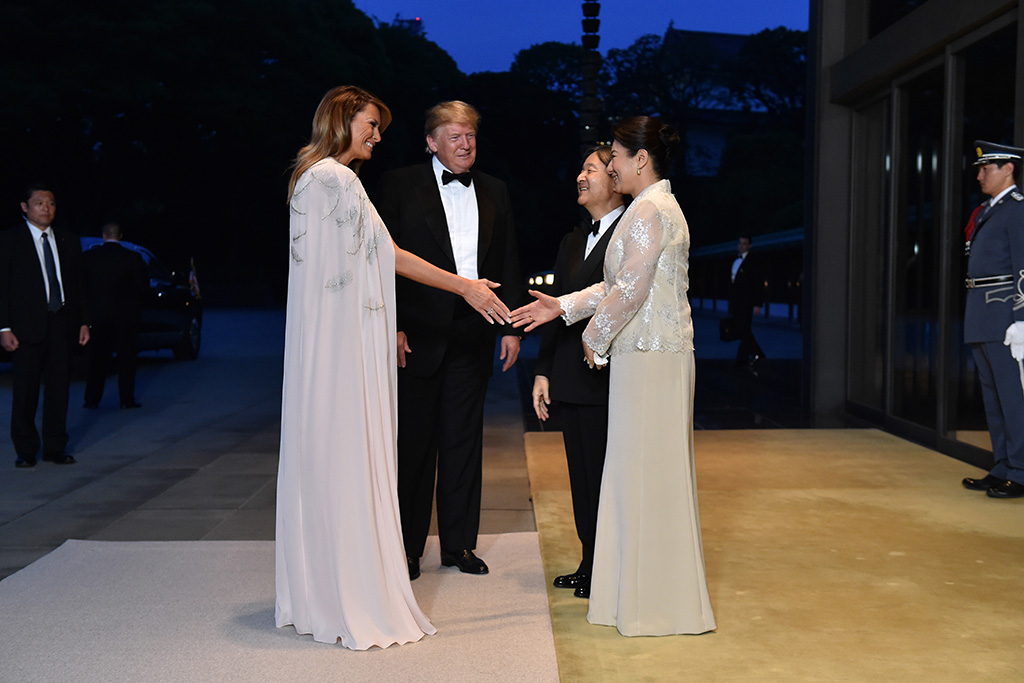 US President Donald J. Trump (2-L) and First Lady Melania Trump (L) are greeted by Japan's Emperor Naruhito (C) and Empress Masako (R) upon their arrival at the Imperial Palace for a state banquet in Tokyo, Japan, 27 May 2019. President Trump is on a four-day state visit to Japan.US President Donald J. Trump visits Japan, Tokyo - 27 May 2019
