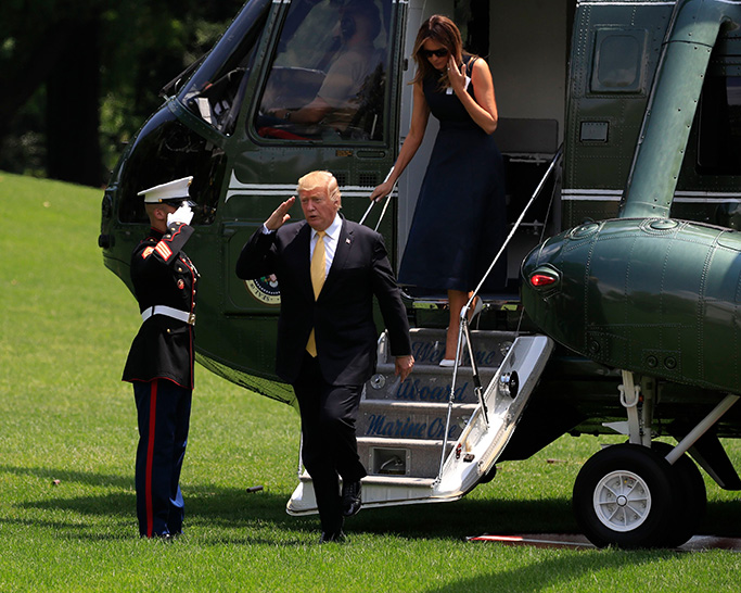 melania trump, calvin klein navy dress, white christian louboutin pumps,Donald Trump, Melania Trump. President Donald Trump with first lady Melania Trump disembark Marine One upon arrival at the White House in Washington, from a state visit in JapanTrump, Washington, USA - 28 May 2019