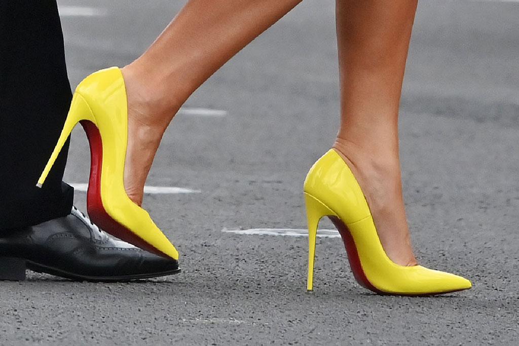 Melania Trump, christian louboutin so kate pumps, celebrity style, yellow heels, flotus, japan
