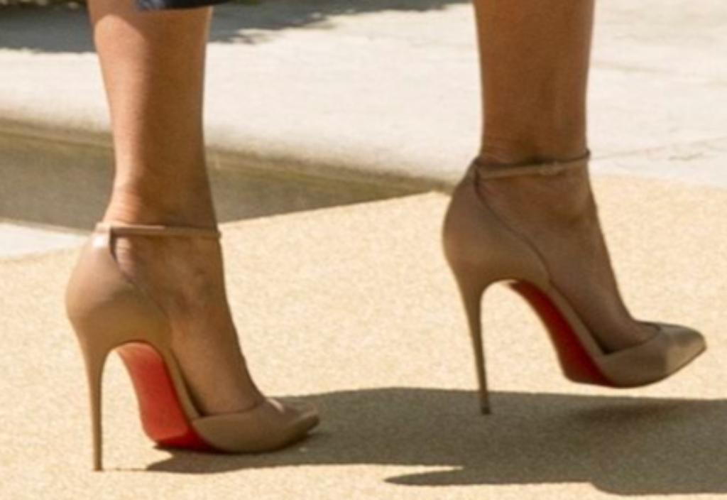 melania trump, christian louboutin nude ankle strap pumps