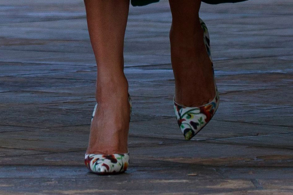 Melania trump, white house, celebrity style, emilia wickstead moss dress, christian louboutin so kate floral mosaic pumps, rose garden