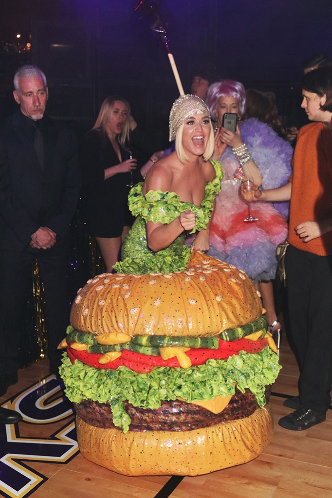 Katy Perry, hamburger gown, Gucci After Party, Met Gala, New York, USA - 06 May 2019 Gucci Met Gala After Party at Hunter College