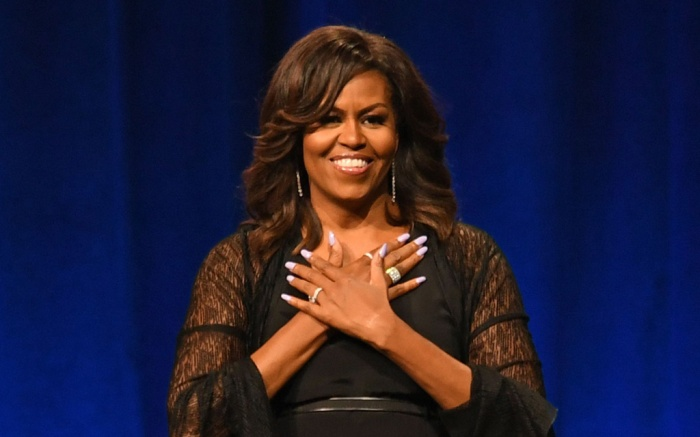 Michelle Obama, celebrity style, becoming book tour, sunrise, florida