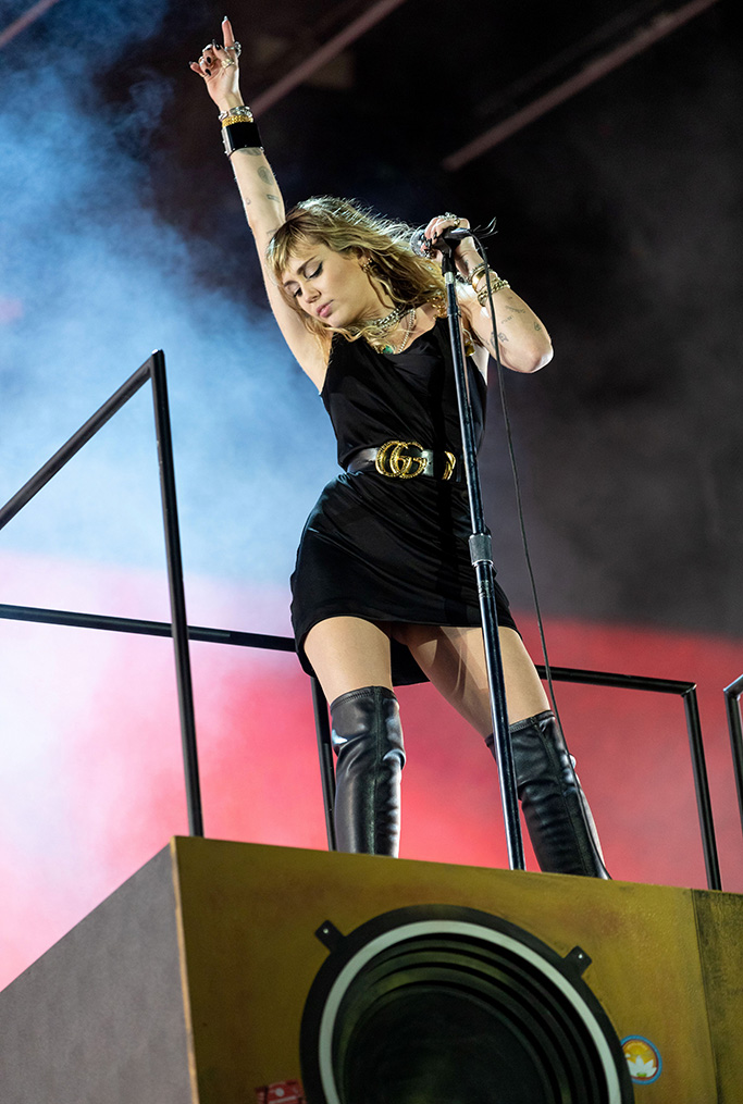 Miley Cyrus, thigh-high boots, lbd, black minidress, celebrity style, Radio 1 Big Weekend, Middlesbrough, UK - 25 May 2019