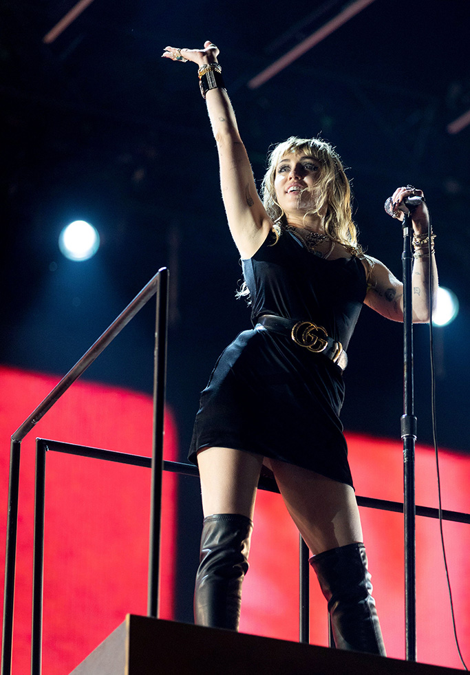 Miley Cyrus, thigh-high boots, black minidress, gucci belt, Radio 1 Big Weekend, Middlesbrough, UK - 25 May 2019