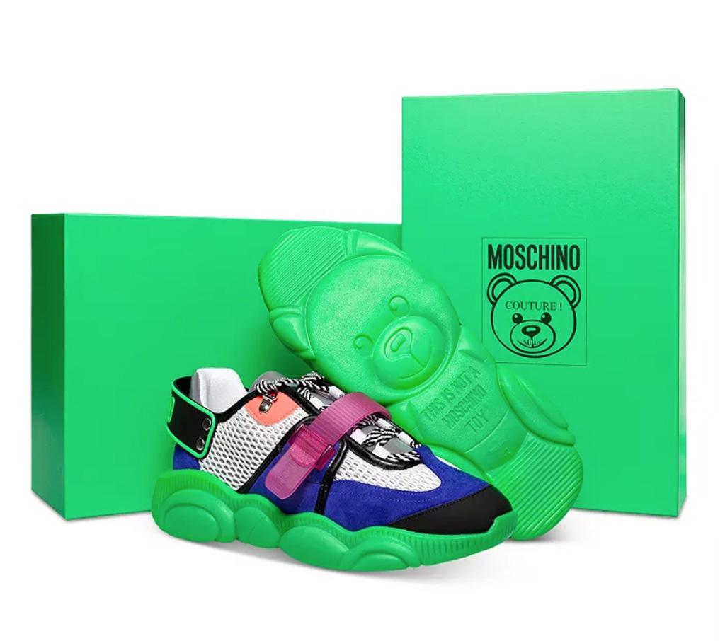 green, neon, Fluorescent sole in the shape of Moschino Teddy Bear