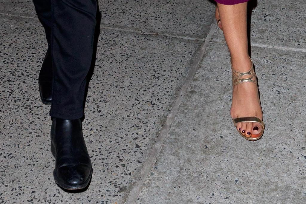 nick jonas, priyanka chopra, black boots, gold sandals, celebrity style
