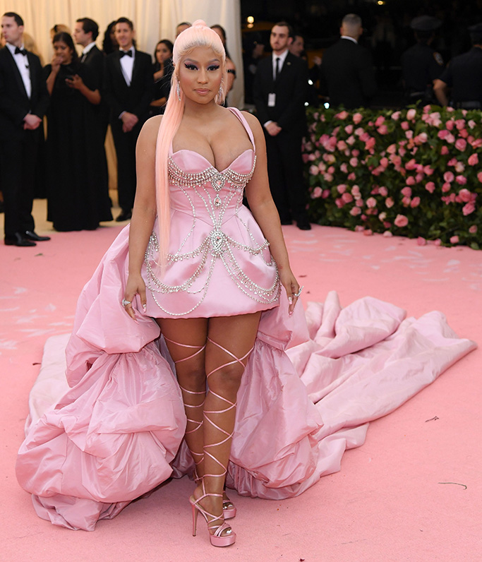Nicki Minaj, brother vellies sandals, Costume Institute Benefit celebrating the opening of Camp: Notes on Fashion, Arrivals, The Metropolitan Museum of Art, New York, USA - 06 May 2019