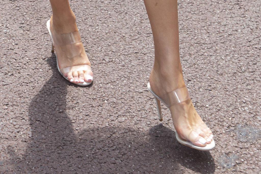 Manolo Blahnik, see-through sandals, clear shoe trend, olivia culpo, celebrity style, monaco grand prix