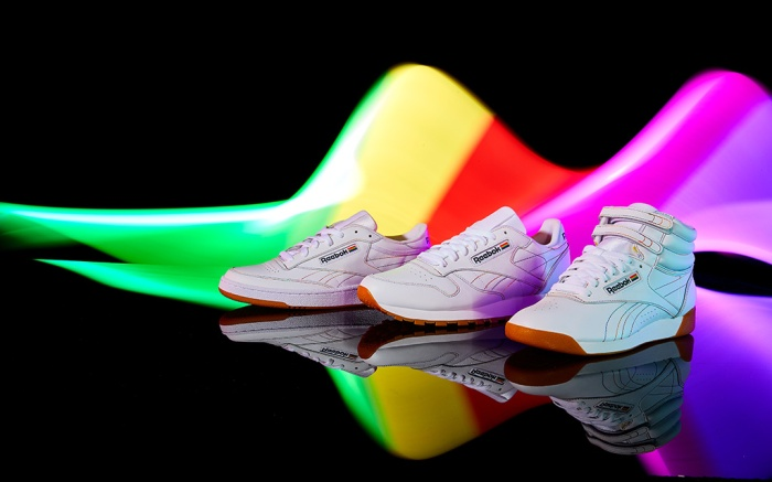 Club C, Classic Leather, Freestyle Hi, pride pack collection, reebok, rainbow, lgbtq shoes, gay