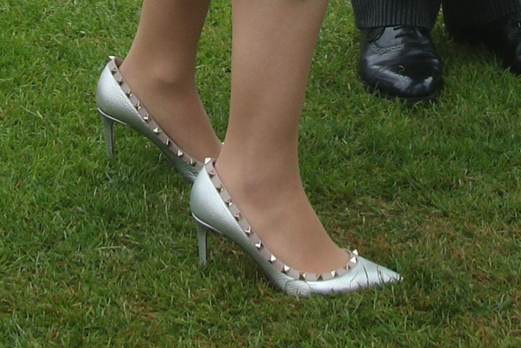 princess eugenie, wrap dress, sandro, celebrity style, valentino rockstud pumps, garden party, queen elizabeth ii