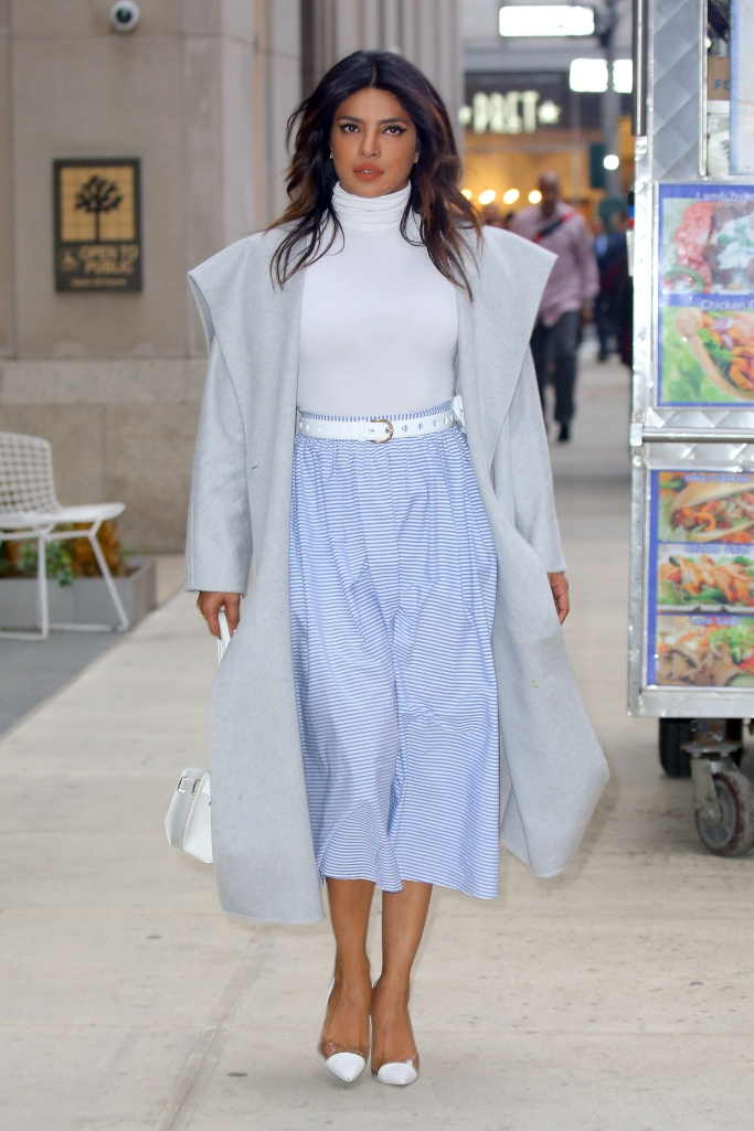 Priyanka Chopra, Vineyard Vines for Target Striped Midi Skirt, Wolford Sleeveless Turtleneck Bodysuit, pvc pumps