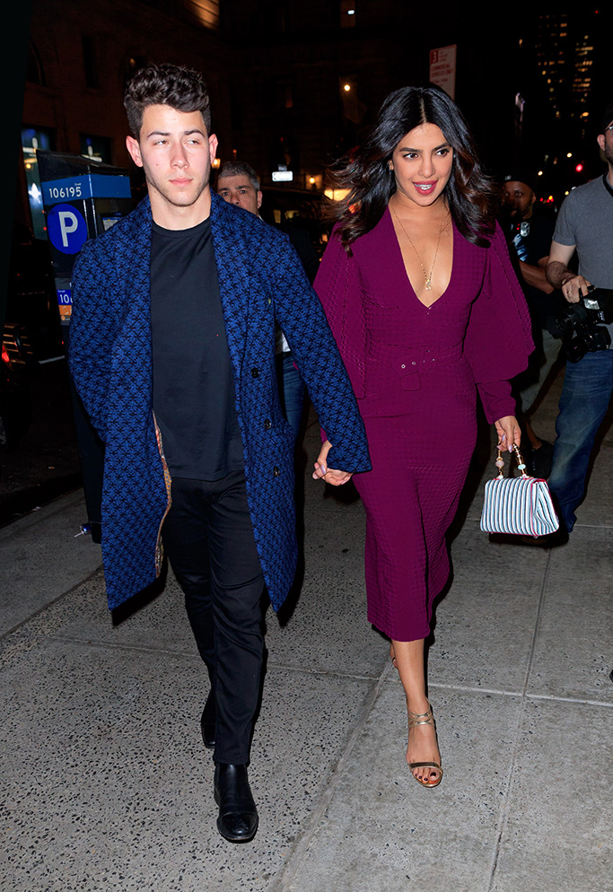 nick jonas, priyanka chopra, AKA Nanita dress, purple, gold sandals, Joe Jonas, Sophie Turner and Nick Jonas and Priyanka Chopra have a double date to go watch 'Beetlejuice' then go to Polo Bar for drinks in New YorkPictured: Nick Jonas and Priyanka ChopraRef: SPL5088422 110519 NON-EXCLUSIVEPicture by: Jackson Lee / SplashNews.comSplash News and PicturesLos Angeles: 310-821-2666New York: 212-619-2666London: 0207 644 7656Milan: 02 4399 8577photodesk@splashnews.comWorld Rights, No Portugal Rights