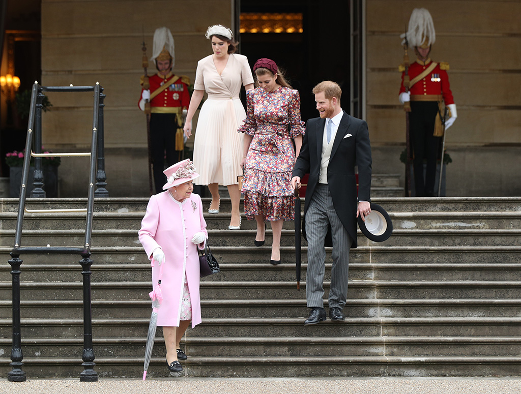 Queen Elizabeth II (bottom), Prince Harry, Princess Eugenie (top left) and Princess Beatrice during a Royal Garden Party at Buckingham Palace in London.Garden Party at Buckingham Palace, London, UK - 29 May 2019
