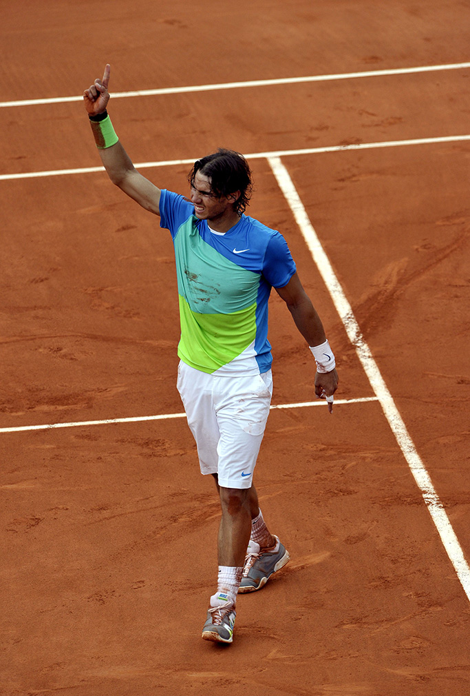 Rafael Nadal of Spain Celebrates His Straight Sets Victory Over Robin Soderling of Sweden in the Men's Singles Final For the French Open Tennis Tournament at Roland Garros in Paris France 06 June 2010 France ParisFrance Tennis French Open 2010 Grand Slam - Jun 2010