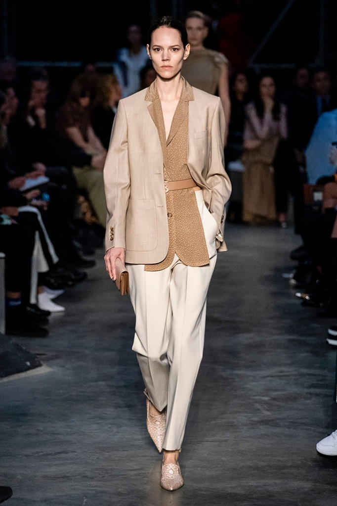 beige, monocromatic, Model on the catwalk, Burberry show, Runway, Fall Winter 2019, London Fashion Week, UK - 17 Feb 2019