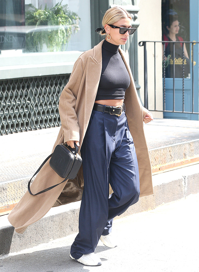 beige coat, crop top, pinstripe pants, Hailey Bieber, Hailey Baldwin out and about, New York, USA - 02 May 2019