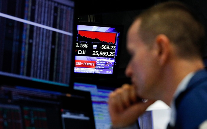 A trader works on the floor of the New York Stock Exchange in New York, New York, USA, on 07 May 2019. The Dow Jones industrial average lost 473 points today, and was down by as much as 600 points in interday trading, as markets continued to react to uncertainty surrounding trade negotiations between the United States and China.New York Stock Exchange, USA - 07 May 2019