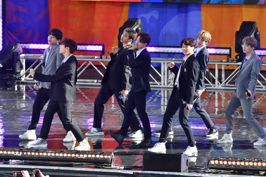 BTS, dior, outfits, celebrity style, white sneakers, 'Good Morning America' TV show, New York, USA - 15 May 2019