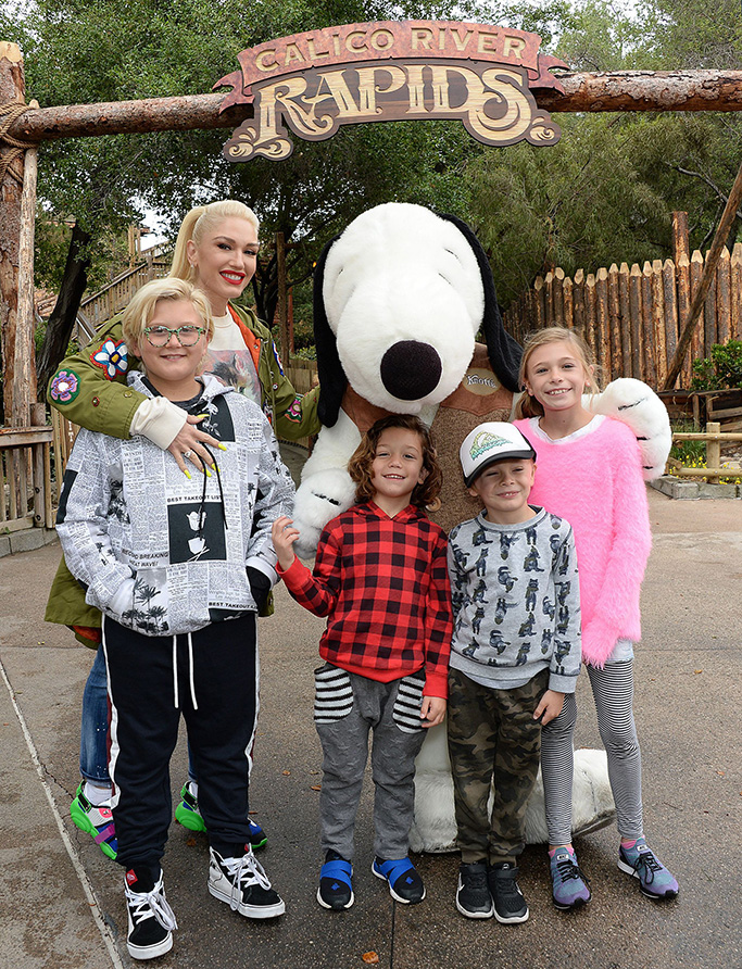 moschino teddy sneakers, Gwen Stefani and Kids Zuma and Apollo RossdaleGwen Stefani, out and about, Calico River Rapids, California, USA - 19 May 2019