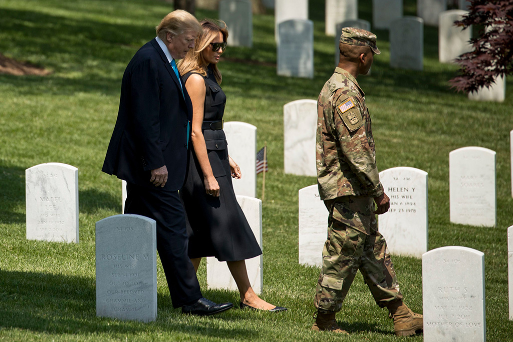 Donald Trump, Melania Trump. President Donald Trump and first lady Melania Trump visit Arlington National Cemetery for their annual Flags In ceremony, in Arlington, VaTrump, Arlington, USA - 23 May 2019