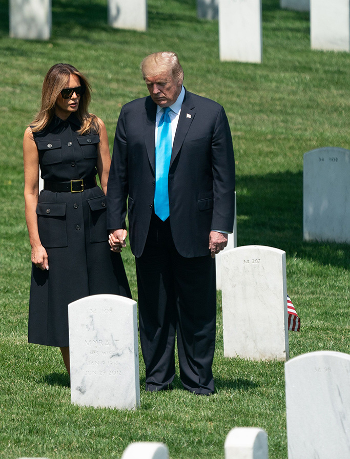 "United States President Donald J. Trump and First Lady Melania Trump visit Arlington National Cemetery ahead of Memorial Day during the ""Flags-In"" ceremony, in Arlington, Virginia.President Donald Trump visits Arlington National Cemetery, Virginia, USA - 23 May 2019""Flags-In"" is an annual event where the 3rd U.S. Infantry Regiment, ""The Old Guard,"" places American flags at every gravesite at Arlington National Cemetery."