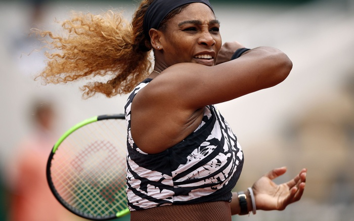 Serena Williams of the USA plays Vitalia Diatchenko of Russia during their women?s first round match during the French Open tennis tournament at Roland Garros in Paris, France, 27 May 2019.French Open tennis tournament at Roland Garros, Paris, France - 27 May 2019