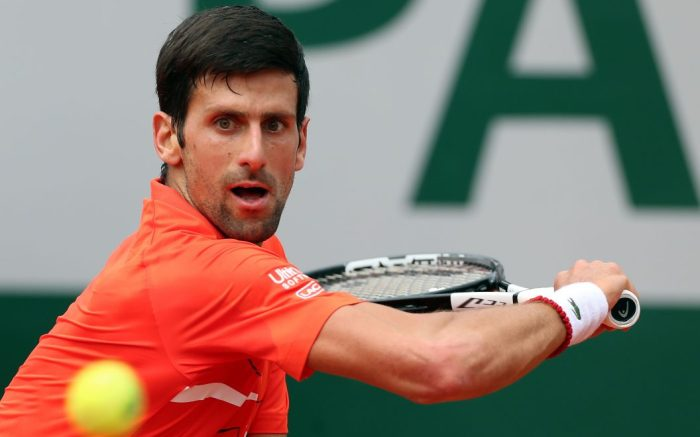 Novak Djokovic, lacoste, nbcu, of Serbia plays Henri Laaksonen of Switzerland during their men?s second round match during the French Open tennis tournament at Roland Garros in Paris, France, 30 May 2019.French Open tennis tournament at Roland Garros, Paris, France - 30 May 2019