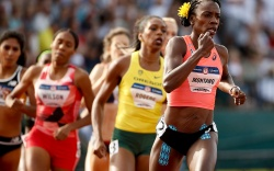 Alysia Montano leads during the first
