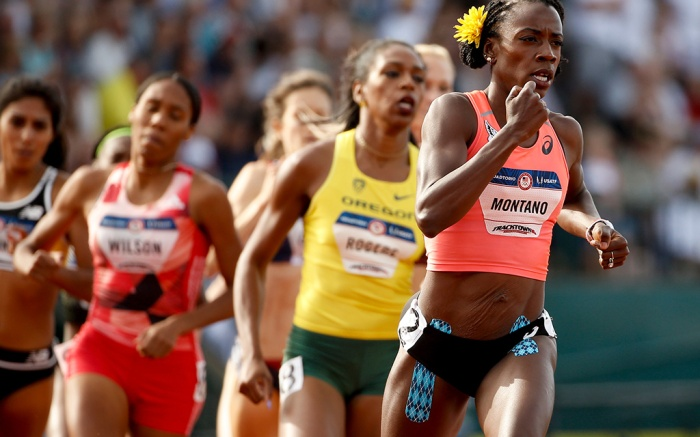 Alysia Montano leads during the first lap of the women's 800-meter final at the U.S. Olympic Track and Field TrialsUS Olympic Track and Field Trials, Hayward Field, Eugene, USA - 04 Jul 2016