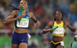 United States' Allyson Felix smiles as