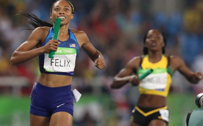 United States' Allyson Felix smiles as her tam wins the women's 4x400m meter relay during athletics competitions at the Summer Olympics inside Olympic stadium in Rio de Janeiro, BrazilRio 2016 Olympic Games, Athletics, Olympic Stadium, Brazil - 19 Aug 2016