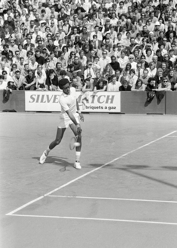Arthur Ashe American Arthur Ashe, of Gum Springs, Va., during his match versus French Georges Goven in the French Open Tennis Tournament in Paris on . Ashe won 6-4, 6-4, and 7-5Arthur Ashe, Paris, France