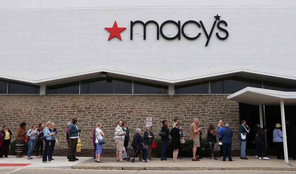 Customers line up to get into the grand opening of Macy's Backstage at Tri-County Mall on in Cincinnati. Macy's debuts Cincinnati's first Backstage, the brand's off-price store, at the Tri-County locationMacy's Backstage Grand Opening at Tri-County Mall, Cincinnati, USA - 12 Apr 2018