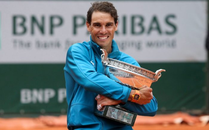 Rafael Nadal (ESP) celebrates his victory against Dominic Thiem (AUT) following the men's singles final and lifts the trophyFrench Open Tennis Championships, Day Fifteen, Roland Garros, Paris, France - 10 June 2018