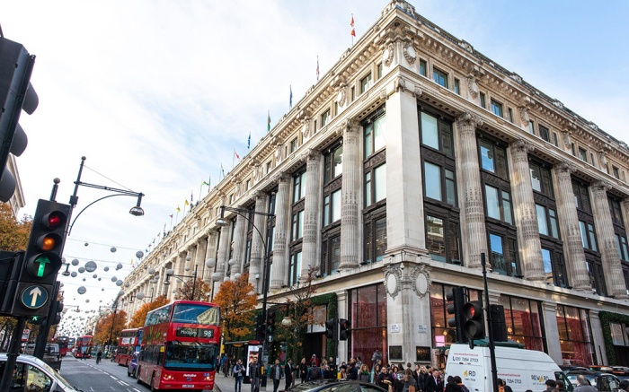 General view of the Selfridges store in central London where a group of people used a car in a smash and grab robbery.Selfridges robbery, London, UK - 13 Nov 2018