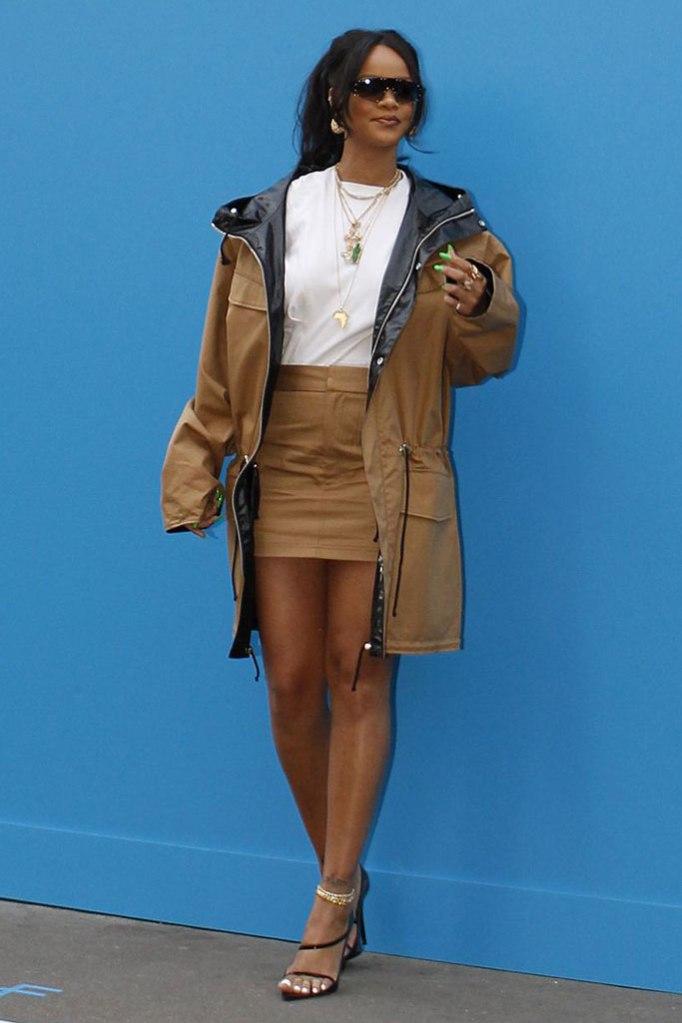 rihanna, fenty paris pop-up, celebrity style, khaki miniskirt, jacket, sandals, anklet, sunglasses, t-shirt