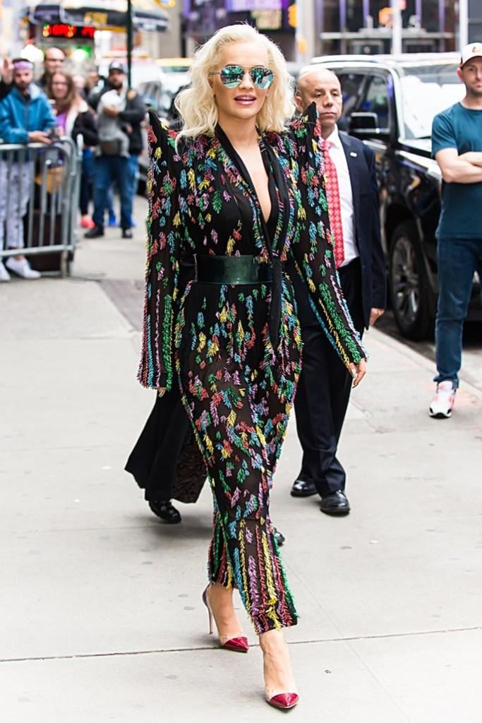 rita ora, gma, jean paul gaultier, gianvito rossi plexi pumps, celebrity shoe style, new york city, street style