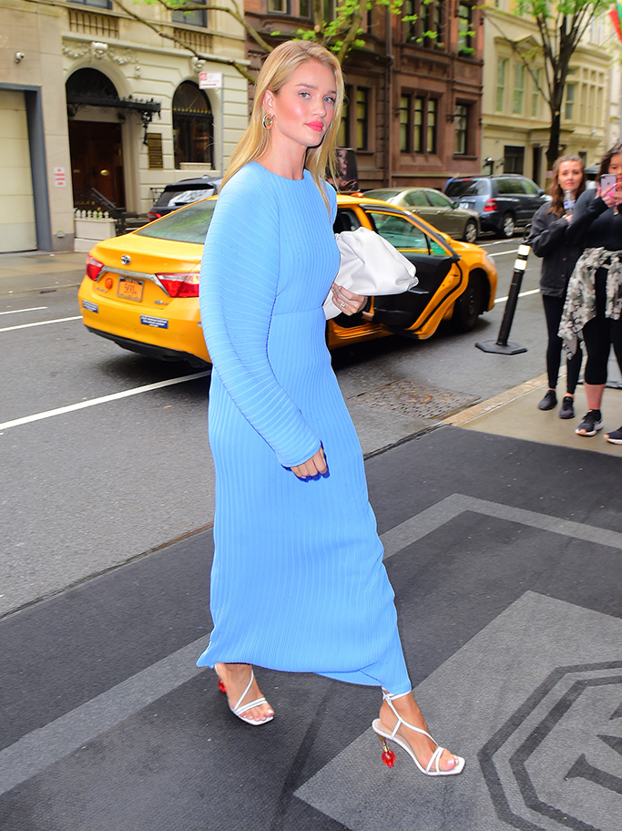 Rosie Huntington Whiteley, jacquemus sandals, new york city street style, Stuns in Sky Blue Dress while out in NYCPictured: Rosie Huntington-WhiteleyRef: SPL5086042 040519 NON-EXCLUSIVEPicture by: DIGGZY / SplashNews.comSplash News and PicturesLos Angeles: 310-821-2666New York: 212-619-2666London: 0207 644 7656Milan: 02 4399 8577photodesk@splashnews.comWorld Rights, No Portugal Rights