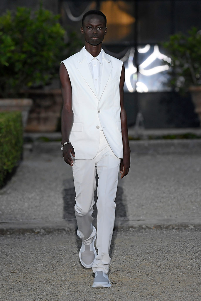 Alhassan Sandah making his runway debut at Givenchy spring 2020 during Pitti Uomo.
