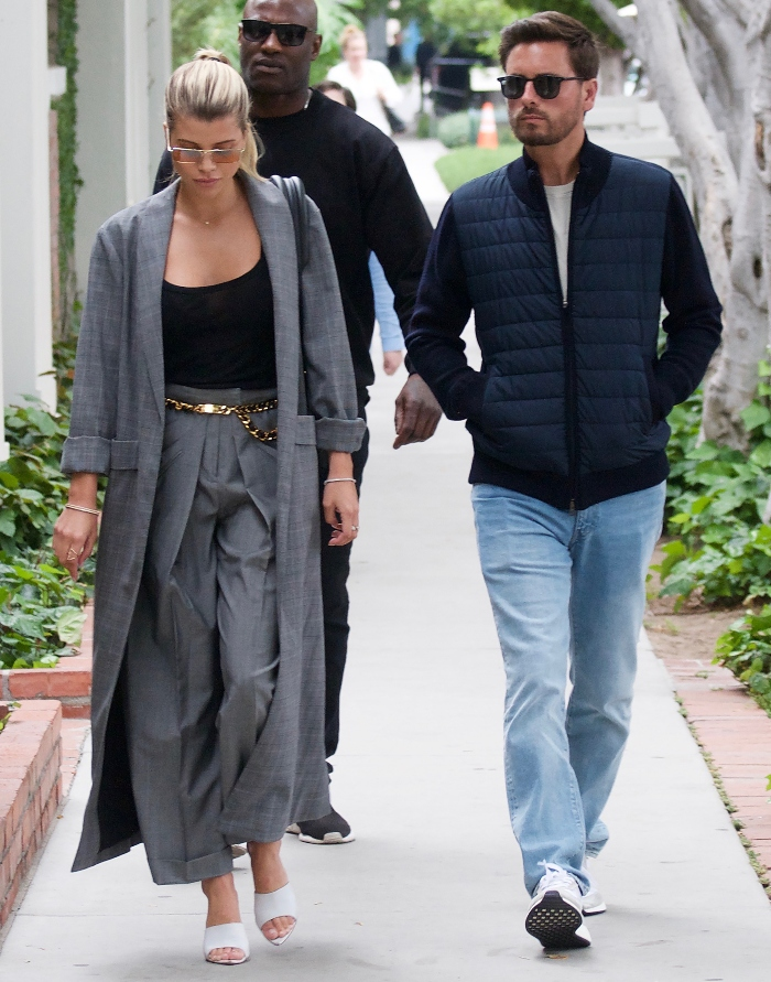 sofia richie, scott disick, beverly hills, date, white shoes, gray suit