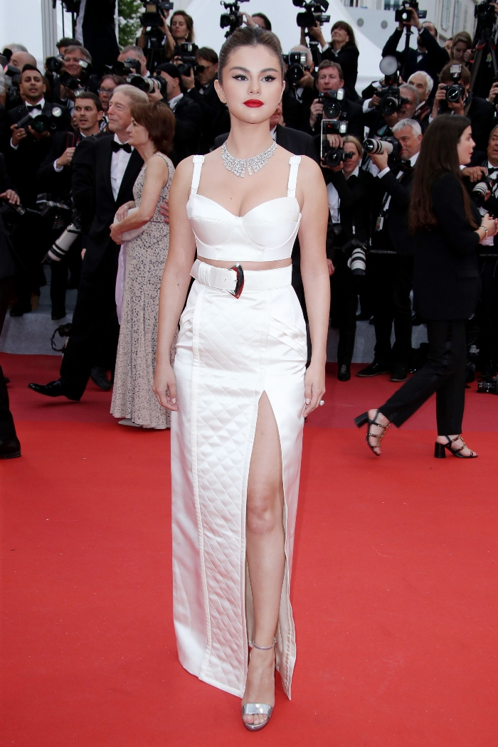 selena gomez, jimmy choo shoes, louis vuitton set, Cannes Film Festival premiere, 'The Dead Don't Die.'