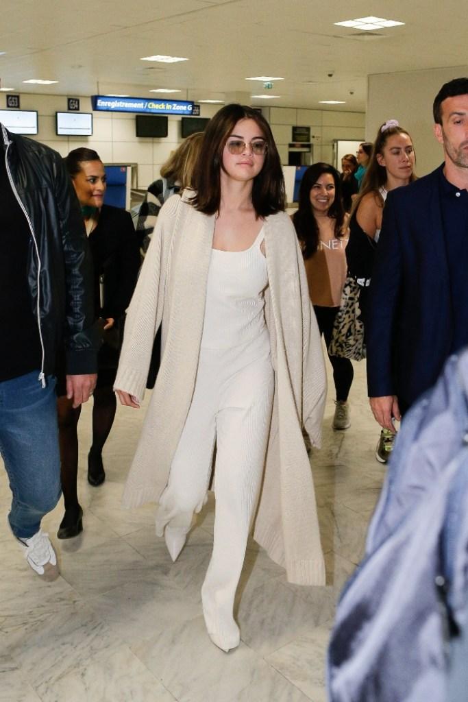 selena gomez, nice airport, cannes film festival, all white