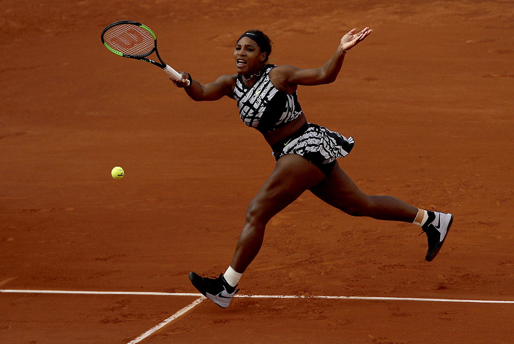 Serena Williams, nike x off-white, tennis, of the USA plays Vitalia Diatchenko of Russia during their women?s first round match during the French Open tennis tournament at Roland Garros in Paris, France, 27 May 2019.French Open tennis tournament at Roland Garros, Paris, France - 27 May 2019