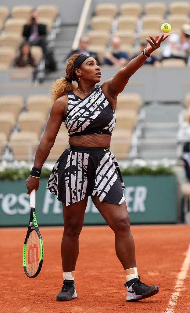 Serena Williams, off-white x nike outfit, crop top, miniskirt, nike sneakers, celebrity style, (USA) wearing a flamboyant Nike dress in her 1st round matchFrench Open Tennis Championships, Day2 , Roland Garros, Paris, France - 27 May 2019 Wearing Off-White x Nike, Custom