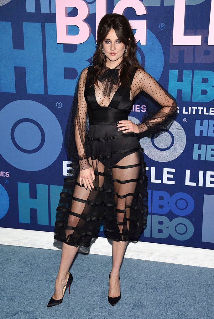 "Shailene Woodley, dior see-through dress, spring 2019 couture, celebrity style, christian louboutin pumps, attends the premiere of HBO's ""Big Little Lies"" season two at Jazz at Lincoln Center, in New YorkNY Premiere of HBO's ""Big Little Lies"" Season 2, New York, USA - 29 May 2019"