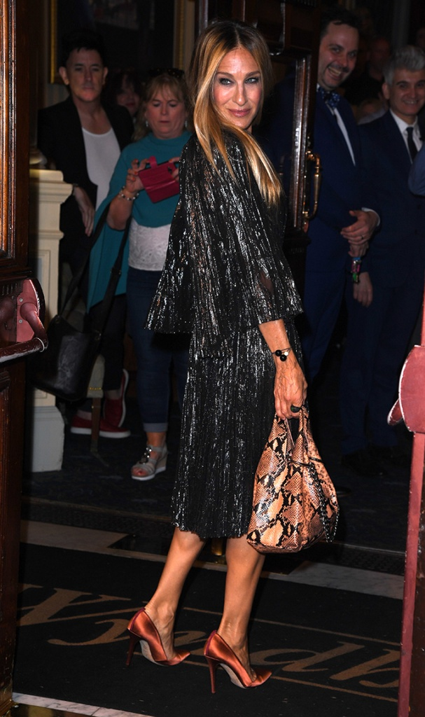Sarah Jessica Parker, sjp collection pumps, celebrity shoe style, j. mendel dress, 'The Starry Messenger' play, press night, Wyndham's Theatre, London, UK - 29 May 2019