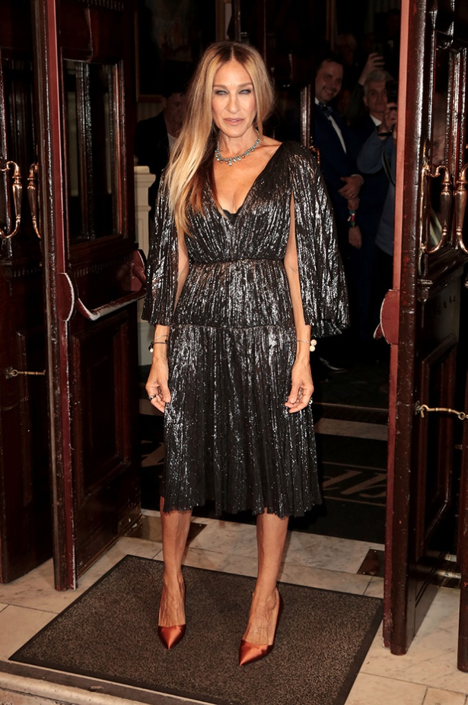 Sarah Jessica Parker, sjp collection pumps, j. mendel silver dress, celebrity shoe style, 'The Starry Messenger' play, press night, Wyndham's Theatre, London, UK - 29 May 2019